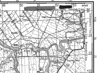 Reduced fragment of topographic map ru--gs--050k--n34-062-1--N054-20_E018-30--N054-10_E018-45; towns and cities Pruszcz Gdanski