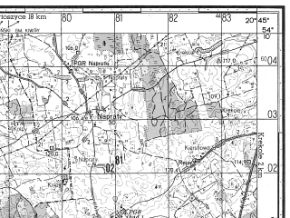 Reduced fragment of topographic map ru--gs--050k--n34-066-3--N054-10_E020-30--N054-00_E020-45; towns and cities Lidzbark Warminski