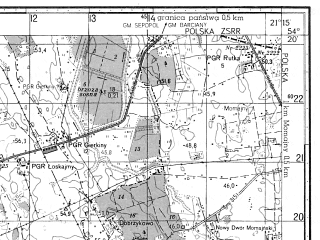 Reduced fragment of topographic map ru--gs--050k--n34-067-1--N054-20_E021-00--N054-10_E021-15; towns and cities Sepopol