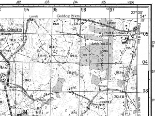 Reduced fragment of topographic map ru--gs--050k--n34-069-4--N054-10_E022-15--N054-00_E022-30; towns and cities Olecko