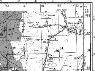 Reduced fragment of topographic map ru--gs--050k--n34-074-1--N054-00_E018-30--N053-50_E018-45; towns and cities Starogard Gdanski, Pelplin