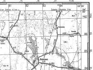 Reduced fragment of topographic map ru--gs--050k--n34-075-1--N054-00_E019-00--N053-50_E019-15; towns and cities Sztum, Mikolajki Pomorskie
