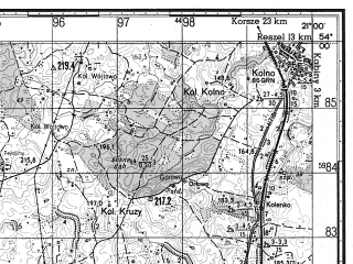 Reduced fragment of topographic map ru--gs--050k--n34-078-2--N054-00_E020-45--N053-50_E021-00; towns and cities Biskupiec