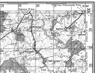 Reduced fragment of topographic map ru--gs--050k--n34-079-2--N054-00_E021-15--N053-50_E021-30; towns and cities Mragowo