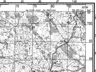 Reduced fragment of topographic map ru--gs--050k--n34-081-1--N054-00_E022-00--N053-50_E022-15; towns and cities Wydminy