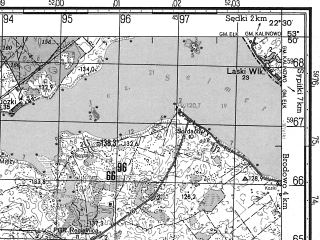 Reduced fragment of topographic map ru--gs--050k--n34-081-4--N053-50_E022-15--N053-40_E022-30; towns and cities Elk