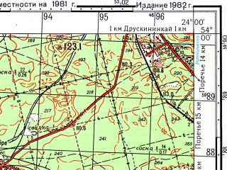 Reduced fragment of topographic map ru--gs--050k--n34-084-2--(1982)--N054-00_E023-45--N053-50_E024-00