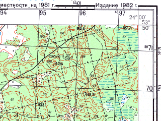 Reduced fragment of topographic map ru--gs--050k--n34-084-4--(1982)--N053-50_E023-45--N053-40_E024-00; towns and cities Grodno, Gozha