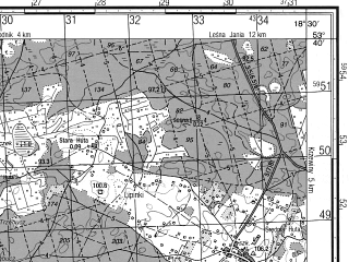 Reduced fragment of topographic map ru--gs--050k--n34-085-2--N053-40_E018-15--N053-30_E018-30; towns and cities Osie