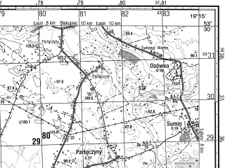 Reduced fragment of topographic map ru--gs--050k--n34-087-3--N053-30_E019-00--N053-20_E019-15; towns and cities Jablonowo Pomorskie