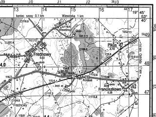 Reduced fragment of topographic map ru--gs--050k--n34-088-1--N053-40_E019-30--N053-30_E019-45; towns and cities Ilawa, Lubawa