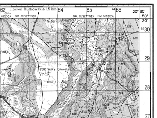 Reduced fragment of topographic map ru--gs--050k--n34-089-4--N053-30_E020-15--N053-20_E020-30; towns and cities Nidzica