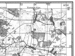 Reduced fragment of topographic map ru--gs--050k--n34-092-4--N053-30_E021-45--N053-20_E022-00; towns and cities Kolno