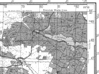 Reduced fragment of topographic map ru--gs--050k--n34-093-1--N053-40_E022-00--N053-30_E022-15; towns and cities Biala Piska