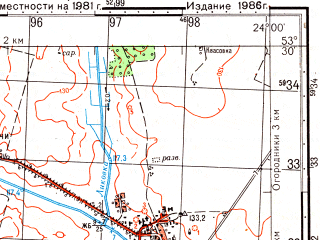 Reduced fragment of topographic map ru--gs--050k--n34-096-4--(1986)--N053-30_E023-45--N053-20_E024-00; towns and cities Olekshitsa