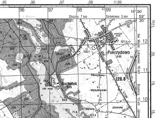 Reduced fragment of topographic map ru--gs--050k--n34-099-2--N053-20_E019-15--N053-10_E019-30; towns and cities Brodnica