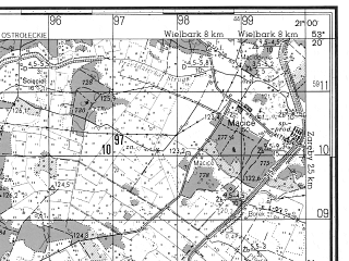 Reduced fragment of topographic map ru--gs--050k--n34-102-2--N053-20_E020-45--N053-10_E021-00; towns and cities Chorzele