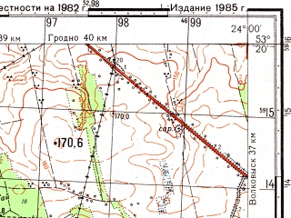 Reduced fragment of topographic map ru--gs--050k--n34-108-2--(1985)--N053-20_E023-45--N053-10_E024-00; towns and cities Krynki