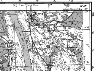Reduced fragment of topographic map ru--gs--050k--n34-110-1--N053-00_E018-30--N052-50_E018-45; towns and cities Aleksandrow Kujawski