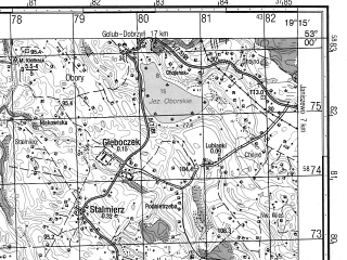 Reduced fragment of topographic map ru--gs--050k--n34-111-1--N053-00_E019-00--N052-50_E019-15; towns and cities Lipno