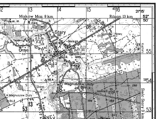 Reduced fragment of topographic map ru--gs--050k--n34-115-3--N052-50_E021-00--N052-40_E021-15; towns and cities Pultusk