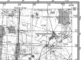 Reduced fragment of topographic map ru--gs--050k--n34-119-3--N052-50_E023-00--N052-40_E023-15; towns and cities Bielsk Podlaski