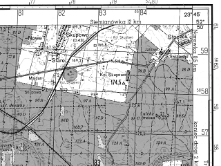 Reduced fragment of topographic map ru--gs--050k--n34-120-3--N052-50_E023-30--N052-40_E023-45; towns and cities Hajnowka