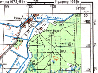Reduced fragment of topographic map ru--gs--050k--n34-120-4--(1986)--N052-50_E023-45--N052-40_E024-00; towns and cities Bialowieza