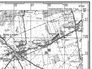 Reduced fragment of topographic map ru--gs--050k--n34-126-2--N052-40_E020-45--N052-30_E021-00; towns and cities Nasielsk