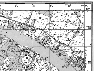 Reduced fragment of topographic map ru--gs--050k--n34-126-4--N052-30_E020-45--N052-20_E021-00; towns and cities Legionowo
