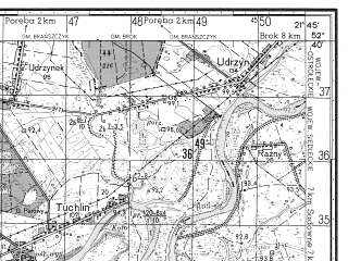 Reduced fragment of topographic map ru--gs--050k--n34-128-1--N052-40_E021-30--N052-30_E021-45; towns and cities Lochow