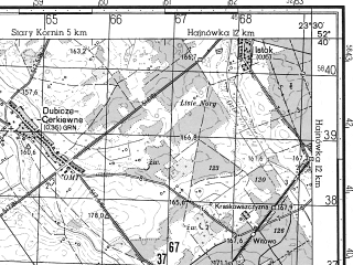Reduced fragment of topographic map ru--gs--050k--n34-131-2--N052-40_E023-15--N052-30_E023-30; towns and cities Kleszczele