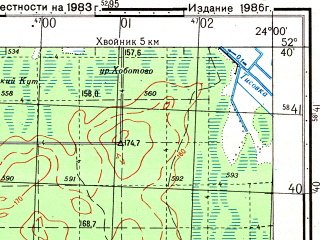 Reduced fragment of topographic map ru--gs--050k--n34-132-2--(1986)--N052-40_E023-45--N052-30_E024-00