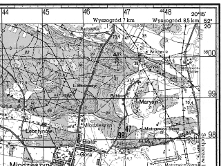 Reduced fragment of topographic map ru--gs--050k--n34-137-1--N052-20_E020-00--N052-10_E020-15; towns and cities Sochaczew