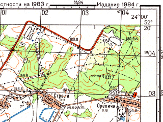 Reduced fragment of topographic map ru--gs--050k--n34-144-2--(1984)--N052-20_E023-45--N052-10_E024-00; towns and cities Zhabinka