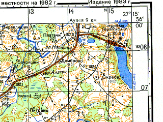 Reduced fragment of topographic map ru--gs--050k--n35-007-1--(1982)--N056-00_E027-00--N055-50_E027-15; towns and cities Kraslava
