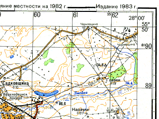 Reduced fragment of topographic map ru--gs--050k--n35-008-4--(1982)--N055-50_E027-45--N055-40_E028-00; towns and cities Drissa, Verkhnedvinsk