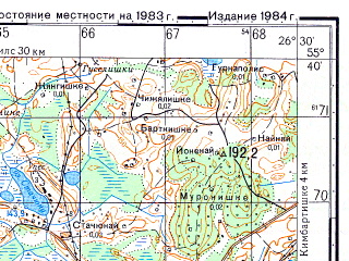 Reduced fragment of topographic map ru--gs--050k--n35-017-2--N055-40_E026-15--N055-30_E026-30; towns and cities Dukshtas