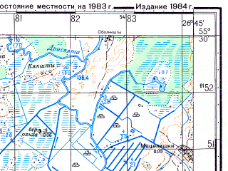 Reduced fragment of topographic map ru--gs--050k--n35-018-3--(1983)--N055-30_E026-30--N055-20_E026-45; towns and cities Vidzy