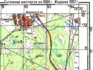 Reduced fragment of topographic map ru--gs--050k--n35-021-2--(1986)--N055-40_E028-15--N055-30_E028-30; towns and cities Borkovichi