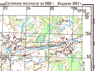 Reduced fragment of topographic map ru--gs--050k--n35-022-4--(1986)--N055-30_E028-45--N055-20_E029-00; towns and cities Polotsk