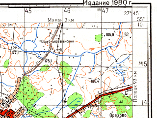 Reduced fragment of topographic map ru--gs--050k--n35-032-3--(1980)--N055-10_E027-30--N055-00_E027-45; towns and cities Glubokoye