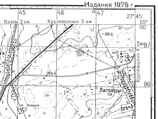 Reduced fragment of topographic map ru--gs--050k--n35-044-1--N055-00_E027-30--N054-50_E027-45; towns and cities Paraf'yanovo