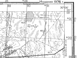 Reduced fragment of topographic map ru--gs--050k--n35-048-2--N055-00_E029-45--N054-50_E030-00; towns and cities Khodtsy