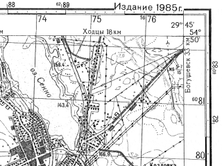 Reduced fragment of topographic map ru--gs--050k--n35-048-3--N054-50_E029-30--N054-40_E029-45; towns and cities Senno