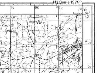 Reduced fragment of topographic map ru--gs--050k--n35-054-2--N054-40_E026-45--N054-30_E027-00; towns and cities Vileyka, Kurenets