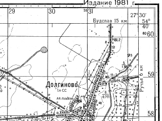 Reduced fragment of topographic map ru--gs--050k--n35-055-2--N054-40_E027-15--N054-30_E027-30; towns and cities Dolginovo, Starinki