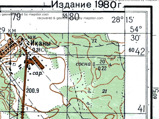Reduced fragment of topographic map ru--gs--050k--n35-057-3--N054-30_E028-00--N054-20_E028-15; towns and cities Zembin