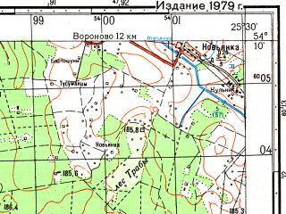 Reduced fragment of topographic map ru--gs--050k--n35-063-4--(1979)--N054-10_E025-15--N054-00_E025-30; towns and cities Voronovo