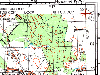 Reduced fragment of topographic map ru--gs--050k--n35-064-3--(1979)--N054-10_E025-30--N054-00_E025-45; towns and cities Lipnishki